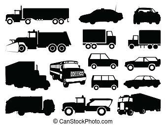 黑色半面畫像, 矢量, cars., 插圖, 彙整