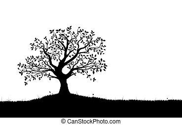 黑色半面畫像, 矢量, vectorial, 樹