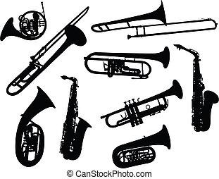 黑色半面畫像, 管樂器