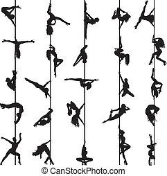 黑色半面畫像, 舞蹈家, 集合, 桿