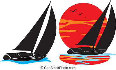 黑色半面畫像, 航行, -, 游艇, 在下面