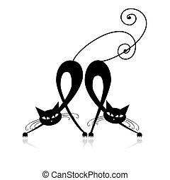 黑色半面畫像, 貓, 二, 設計, 优美, 你, 黑色