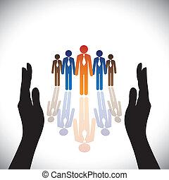 黑色半面畫像, concept-, 公司, secure(protect), 手, 雇員, 公司, 或者, 執行