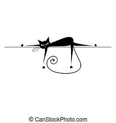 黑色半面畫像, relax., 貓, 黑色, 設計, 你