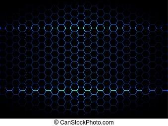 黑色的背景, 六角形, 摘要, 技術, 藍色, 顏色, ligth