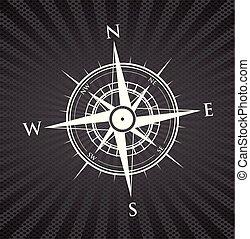 黑色的背景, 指南針