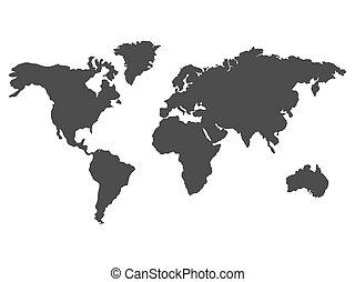 黑色, 世界, map., 矢量
