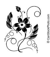 黑色, 圖案, 花, 白色