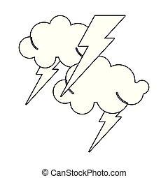 黑色, 白色的云霧, 卡通, 光線
