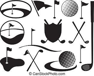黑色, 白色, 高爾夫球, 圖象
