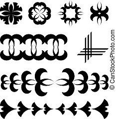 黑色, 矢量, 設計元素, 紋身