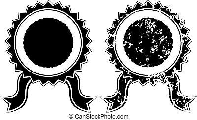 黑色, 空白, 封印, grunge