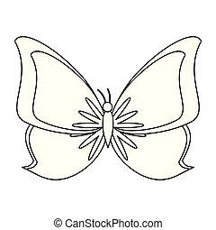黑色, 蝴蝶, 卡通, 被隔离, 白色, 符號