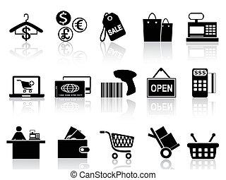 黑色, 零售, 集合, 購物, 圖象