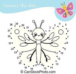 點, 孩子, dots., 連接, game., 活動, 卡通, 數字, toddlers., 教育, 蝴蝶, 孩子