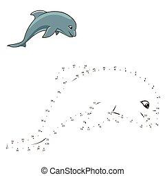點, 平局, 海豚, 游戲, 矢量, 連接