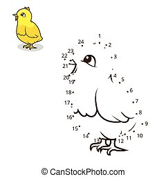 點, 插圖, 游戲, 矢量, 連接, 小雞