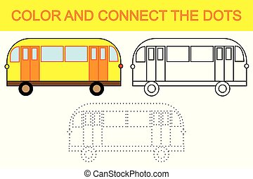 點, 教育, 顏色, 建立, 游戲, bus., 連接, children.