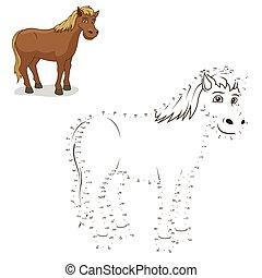 點, 馬, 插圖, 游戲, 矢量, 連接