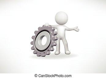 齒輪, 人們, 矢量, 小, 標識語, 3d