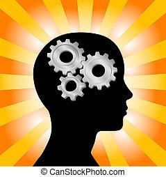 齒輪, 婦女思想, 頭, 橙, 外形, 黃色, 光線
