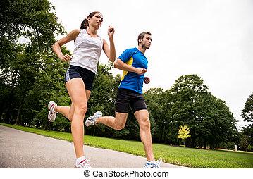 -, 一起, 慢慢走, 運動, 夫婦, 年輕