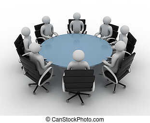 -, 人們, 輪, 被隔离, image., 會議, 桌子。, 後面, 3d