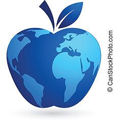 -, 全球, 世界, 蘋果, 村莊