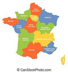 -, 大城市, 地區, 地圖, 法國