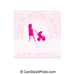 -, 婦女, 黑色半面畫像, 插圖, 怀孕