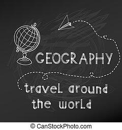 -, 手, 板, 矢量, 粉筆, drawn-, 學校, 背, 簽署, 地理