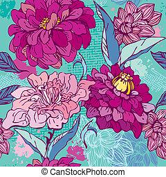 -, 手, 植物的模式, 畫, 花, 菊花, peony., seamless