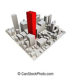 -, 摩天樓, 都市風景, 模型, 紅色, 3d