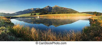 -, 湖, 全景, tatras, 日出, 斯洛伐克, 山