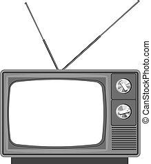 -, 空白, 老, 屏幕, 電視, 電視