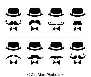 -, 紳士, 小胡子, 人, 圖象