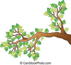 1, 離開, 樹, 卡通, 分支