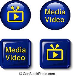 10, 圖象, 電視, 媒介, 屏幕, -, eps, 按鈕, 矢量, 影像