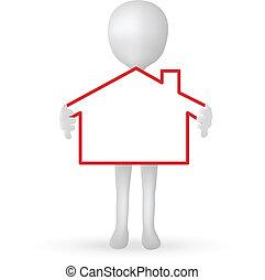 10, 房子, -, eps, 矢量, 扣留手, 小, 3d, 人