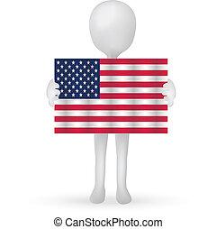10, 美國, -, eps, 旗, 矢量, 扣留手, 小, 3d, 人