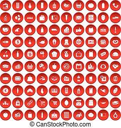 100, 集合, 超級市場, 紅色, 圖象