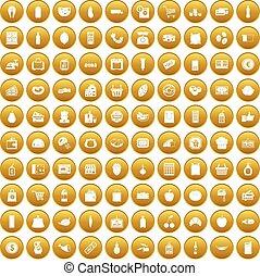 100, 集合, 超級市場, 金, 圖象