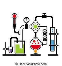 2, 實驗室, infographic, 集合, 化學