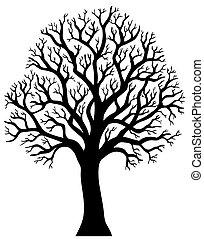2, 樹, 沒有, 黑色半面畫像, 葉子