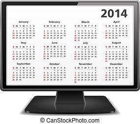 2014, 日曆, 電腦監視器