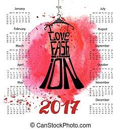2017, 飛濺, 黑色, 日曆, year., 水彩, lettering., 衣服