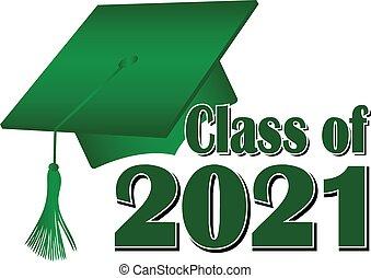 2021, 類別, 畢業帽子, 綠色