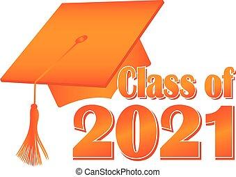 2021, 類別, 畢業, 橙, 帽子