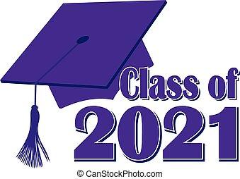 2021, 類別, 畢業, 紫色, 帽子