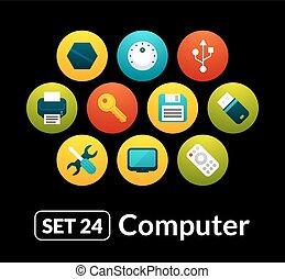 24, 套間, 集合, 圖象, -, 彙整, 電腦, 矢量